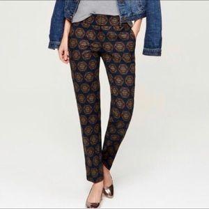 LOFT Marisa Fit Crop Medallion Print Pants Navy 4
